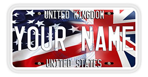 BleuReign(TM) Personalized Mixed USA and United Kingdom Flag Car Vehicle License Plate Auto Tag