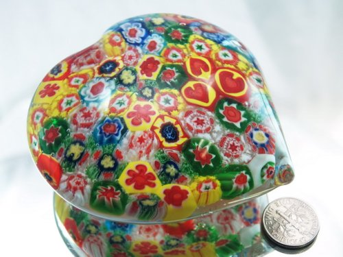 (M Design Art Handcraft Rainbow Heart Millefiori Art Glass Paperweight PW-1103)