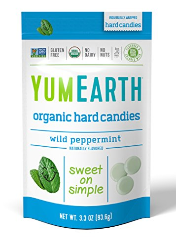 YumEarth Organic Wild Peppermint Drops, 3.3 Ounce Pouches  (Pack of 6) (Packaging May Vary)