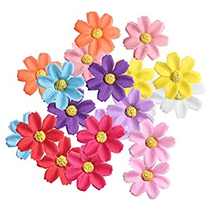 KODORIA 100pcs Artificial Flower Heads Silk Daisy Flower Heads for DIY Baby Shower, Home Party Wedding Favor Decoration DIY Craft Fake Flowers - Colorful 96