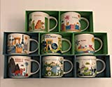 Set of 8: Disney's Animal Kingdom, Magic Kingdom, EPCOT, Hollywood Studios, Universal Studios Orlando Resort, Orlando, Florida and Miami You Are Here 14 Oz. Starbucks Mugs