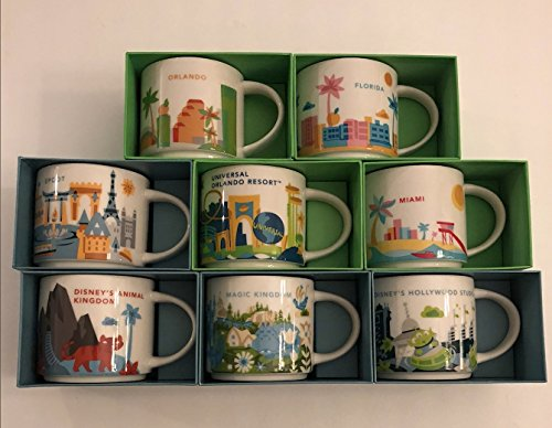 Set of 8: Disney's Animal Kingdom, Magic Kingdom, EPCOT, Hollywood Studios, Universal Studios Orlando Resort, Orlando, Florida and Miami You Are Here 14 Oz. Starbucks Mugs by Starbucks