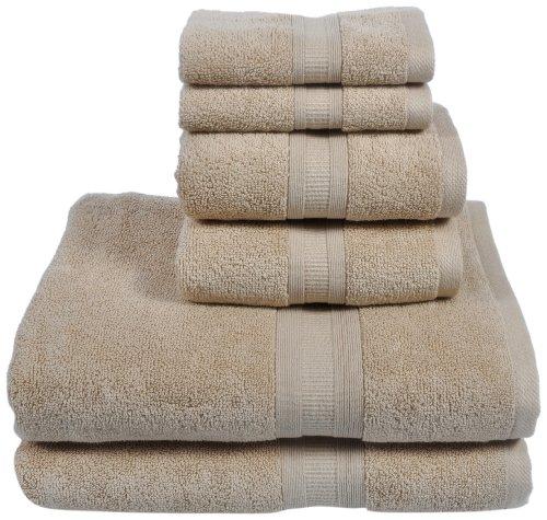 Home Source International MicroCotton Aertex 6 Piece Towel Set, Linen Beige