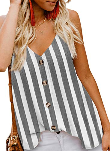 BLENCOT Women's Summer Striped Button Down V Neck Strappy Tank Tops Loose Casual Sleeveless Shirts Blouses Black 2XL