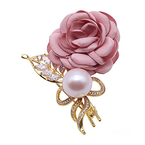- JYX Red Rose Flower Freshwater Pearl Brooches Pins Wedding Jewelry