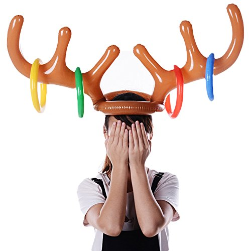 Best Price! GUCHIS Children Interactive Toys Christmas Headdress Cap Ring Toss Game Reindeer Antler ...