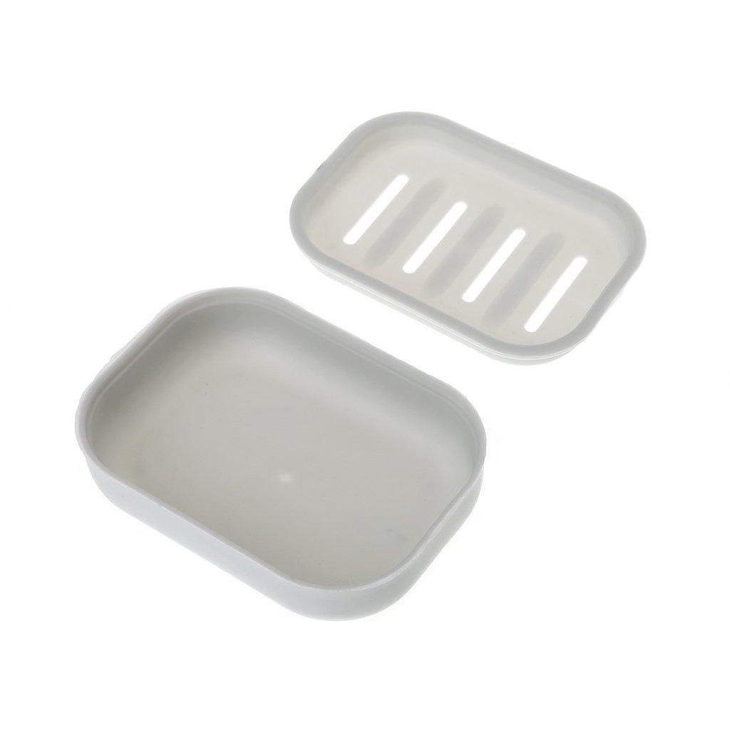 Lunji Porte Savon Plastique Antidérapant - pour Savon, éponge (Blanc)