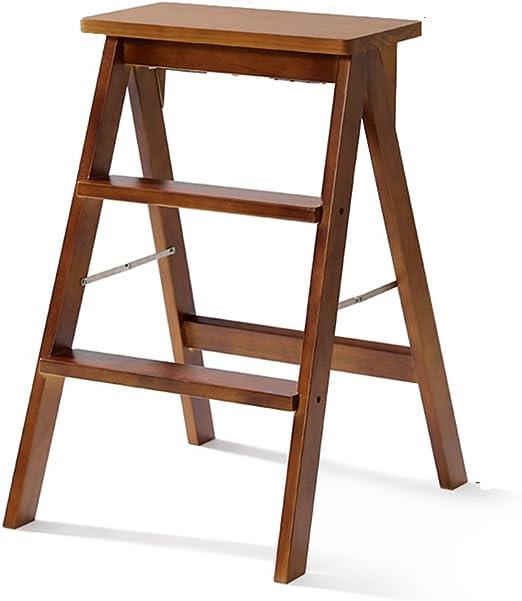 GBY Escalera Cocina Taburete de 2 Pasos de Madera Maciza fácil de almacenar diseño Plegable (Blanco) Escaleras Plegables (Color : B): Amazon.es: Hogar