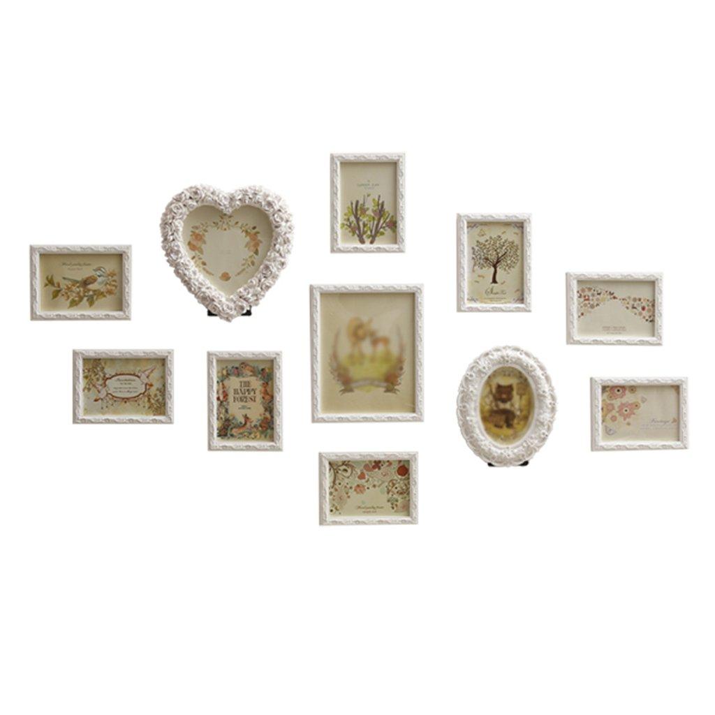 HCJZPQ ®yan Long Home Foto-Wand, kreatives Herz-förmiges Bilderrahmenwand-Wohnzimmerschlafzimmer europäische Fotowand Wand-Bilderrahmen Großes Multiscreen Wandbehang (Farbe : #1)