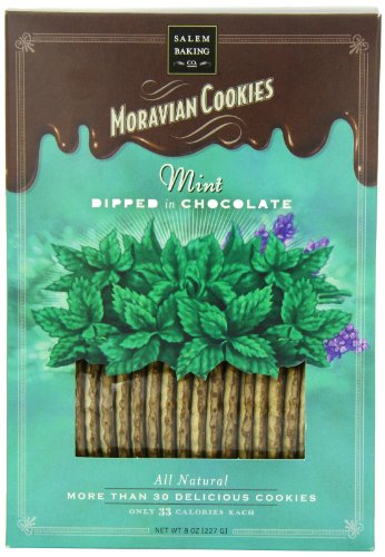 Salem Baking Chocolate Dipped Moravian Cookies, Mint, 8 Ounce (Dipped Cookie)