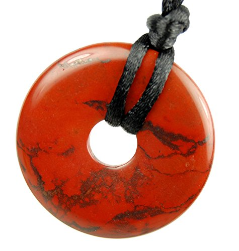 """Steampunkers USA Stone Wheelies - 35mm Red Jasper - 20"""" to 24"""" Adjustable Soft Black Poly Woven Washable Cord - Natural Crystal Gemstone Collectibles Carved Necklace Handmade Charm"""