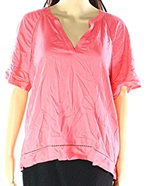 Calvin Klein Womens Small Split Neck Hi-Low Blouse Pink S