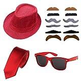 1920s Set Fedora Gangster Hat Costume Accessory and Tie,Men's Roaring 1920s Set Manhattan Fedora Hat for Men (Red)