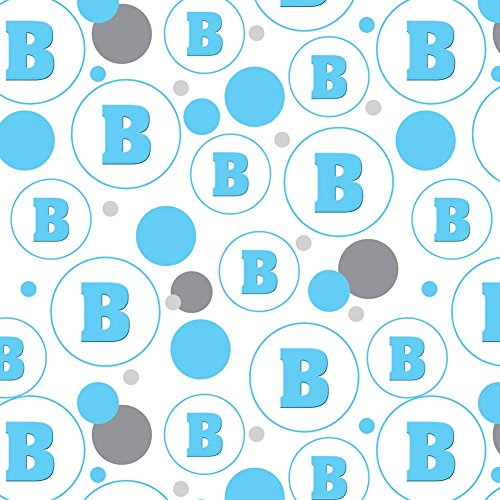 Shower Baby Boy Blocks (Premium Gift Wrap Wrapping Paper Roll Pattern - Letter Initial Baby Boy Block Font Blue Shower - Letter B Initial)