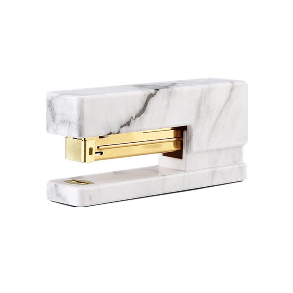 METAN White Marble Stapler Heavy Duty, Desktop Staplers Office Supplies with Non-slip Base Spring Powered Stapler Mei Yi Tian