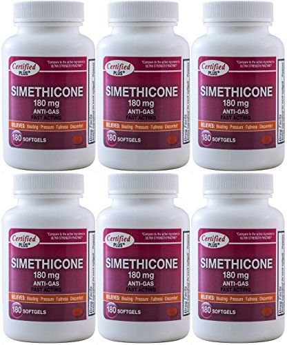 Simethicone 180 mg 1080 Softgels Anti-Gas Generic for Phazyme Ultra Strength Fast Relief of Stomach Gas and Bloating 180 Gelcaps per Bottle Pack of 6 Total 1080 Gelcaps