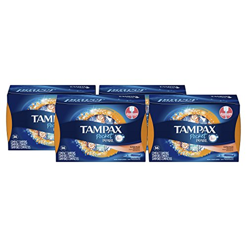 Tampax Pocket Pearl Tampons with Plastic Applicator, Super Plus Absorbency, Unscented, 36 Count- Pack of 4 (144 Count Total)