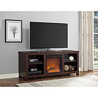 """Altra Edgewood TV Console with Fireplace for TVs up to 60"""", Espresso (Cherry Espresso)"""