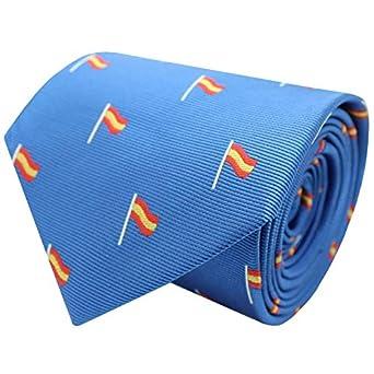 MasGemelos - Corbata Seda Bandera España Mastil Azul Claro: Amazon ...