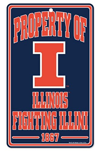 WinCraft NCAA University Illinois Illini Champ/Property of Plastic Sign, 7.25 x - Dorm Fighting Illini Illinois