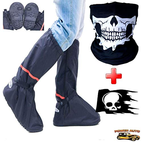 Motorcycle Boot Covers - Outdoor Protective Riding Rain Suit Gear Waterproof Weatherproof - Full Shoe Slip Over - Rainstorm Rainy Days Plus Skull Decal and Skeleton Riding Face Mask (XL) ()