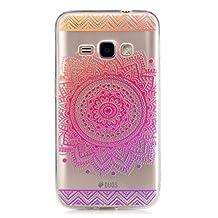 Samsung Galaxy S6 Edge Case, JIEJIEWYD TPU Silicone Gel Soft Clear Case Cover for Samsung Galaxy S6 Edge - purple orange mandala