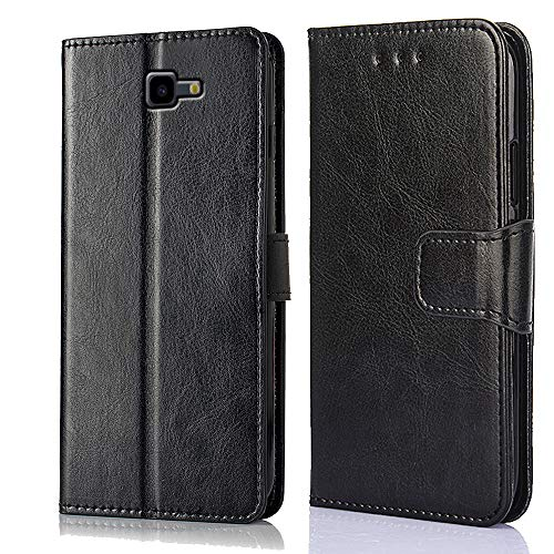 ZeKing Premium PU Leather Flip Fold Wallet Case [Kickstand Feature] with [ID&Credit Card Slot] Case Cover Compatible with Samsung Galaxy J4 Plus / J4 Prime (2018)(Black)
