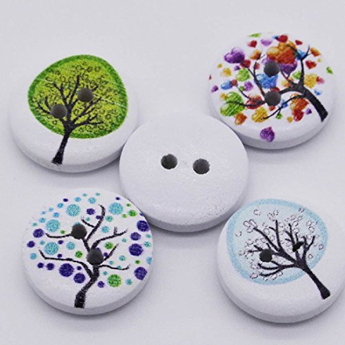 Mega Shop - Sewing Wood Craft Buttons - Size 12 mm with 2 Holes Striped - Bulk 100 Pcs. [ Tree Design For Diy Kid ] Crafting Assort Round Button Fasteners Scrapbooking (Snap Rainbow White Butterfly)
