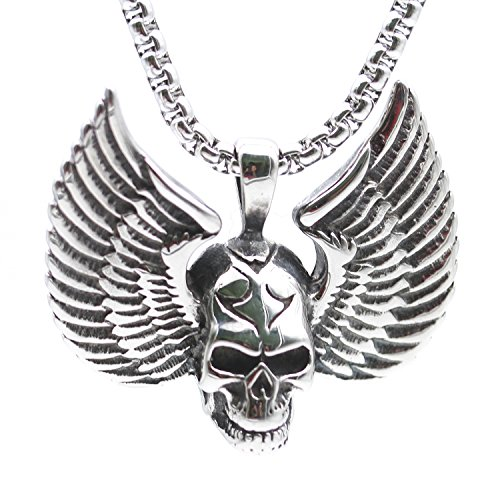 Mens Skull Wings - Y.T.Fashion Tophoenix Gothic Punk Style Skull Wing Necklace with 24