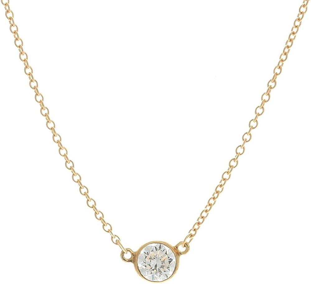 Amazon Com Tiffany Co Elsa Peretti Diamond Solitaire Necklace Pendant Necklaces Jewelry
