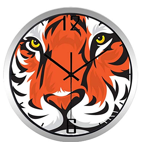 Tigers Art Glass Clock - Chuixiaoxiao1 Wall Clock Long Life Kids Bedroom Colorful Chic Large Cartoon Tiger Head Art Clock(10inch)