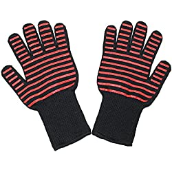 Faciaa BBQ Grilling Cooking Gloves -- Heat Resistant Kevlar & Silicone Insulated Protection -- Professional Indoor Outdoor Kitchen & Oven Accessories (red)