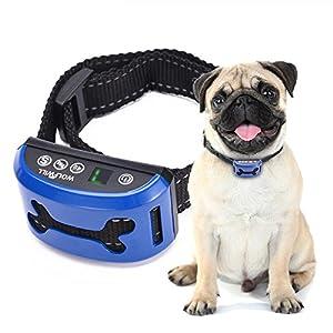 WOLFWILL Humane No Shock Bark Collar Adjustable 7 Sensitivity 3 Mode Rechargeable Rainproof No Bark Training Collar Beep… Click on image for further info.