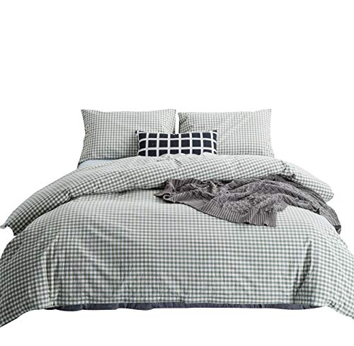 - SUSYBAO 3 Pieces Duvet Cover Set 100% Natural Washed Cotton King Size 1 Duvet Cover 2 Pillowcases Hotel Quality Super Soft Comfortable Breathable Durable Green Gingham Plaid Bedding with Zipper Ties
