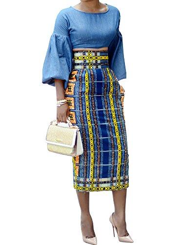 Womens African Print Floral Midi Knee Length Skirts Slim Fit Bodycon High Waist Pencil Dresses ()