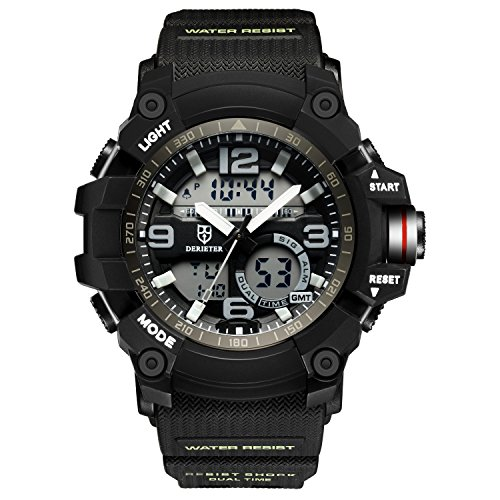 DR8919 Electronic Sports Analog Digital Wrist Watches EL Backlight Alarm Stopwatch Waterproof (Mens El Analog Sport Watchs)