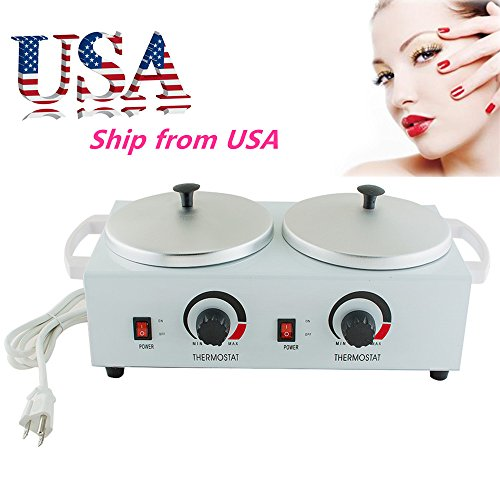 Funwill Ship from USA Professional Wax Warmer Candle Melts Electric Heater Dual Wax Electric Hard Hot Facial Skin Equipment SPA Beauty Care Women's Tool Hand Kit Hair Removal Cubes Machine Salon