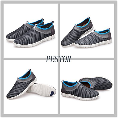 pestor Men's Mesh Slip On Loafers Breathable Walking Running Sneakers Aqua Water Shoes For Beach Athletic Drive