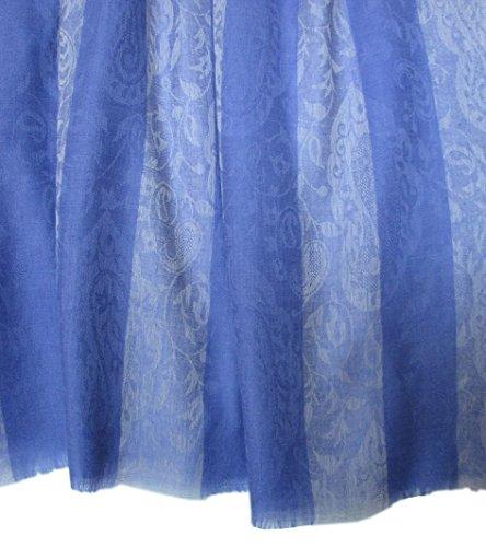 Pure Cashmere Pashmina Scarf Wrap Stole Shawl in Paisley Stripes Design: Periwinkle, Purple, Blue