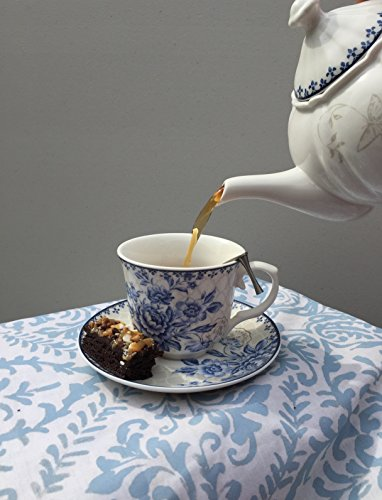 BTäT - Tea Set, China Tea Set, Tea Service, Tea Cups (8oz), Creamer and Sugar Set, Tea Cups and Saucer Set, Tea Pot, Tea Set for Adults, Tea Cups Set of 4, Blue Dream Tea Set, Porcelain Tea Set, Cups by Brew To A Tea (Image #4)