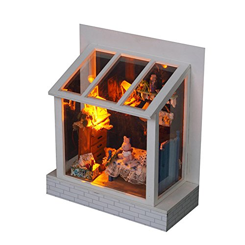 Famulei Wooden Dollhouse with Furnitures DIY Assembling House Miniature Crafts Toys for Children and Teens LED Light Handmade Dollhouse For Gift,Rabbit Bedroom