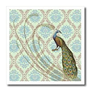 ht_104630_1 Dooni Designs Vintage Designs - Vintage Elegant Victorian Peafowl Peacock Damask - Iron on Heat Transfers - 8x8 Iron on Heat Transfer for White Material