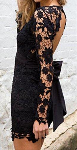 Cromoncent Femmes Manches Longues Ceinturée Épissure Dentelle Coupe-bas V-cou Mini-robe Noire