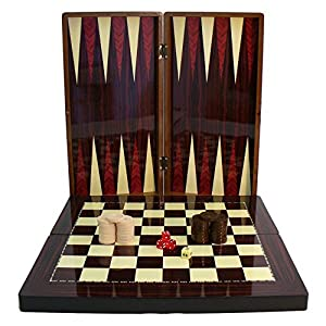 High Gloss Wood Grain Folding Backgammon Set with Chessboard by World Wise Imports