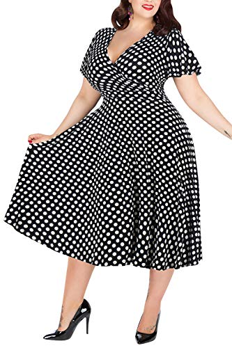 Nemidor Women's V-Neckline Stretchy Casual Midi Plus Size Bridesmaid Dress (Black Dot, 16W)