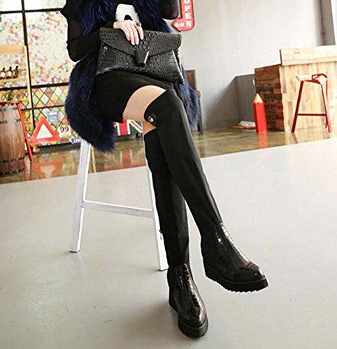 40 Reißverschluss Stoff Muster Stiefel Hohe Kleid Frauen Ofenrohr Stiefel Oberschenkel Schlangenhaut Mode Keilabsatz Größe Kniehohe Spitzschuh Stiefel Eu Ritter 8 Stiefel Black Nähen cm Elastische 34 0aWdnqS