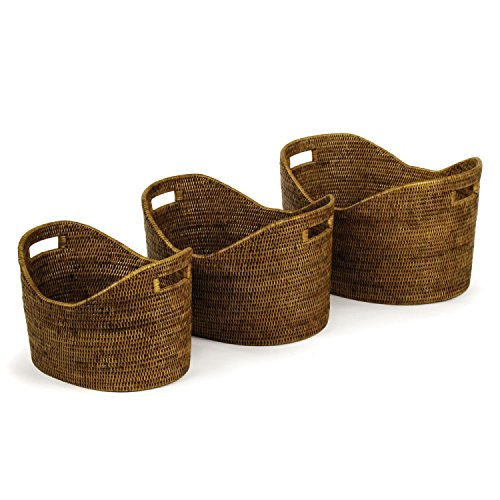 "Set of 3 Handcrafted Burmese Rattan Modern Family Baskets 21"" by CC Home Furnishings"