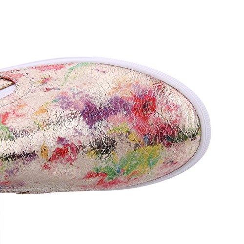 AllhqFashion Damen Ziehen auf Blend-Materialien Niedriger Absatz Gemischte Farbe Pumps Schuhe Golden