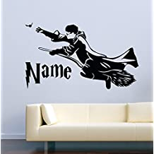 USA Decals4You | Harry Potter Wall Decals Harry Potter On A Broomstick Custom Name Decor Stickers Vinyl MK0571
