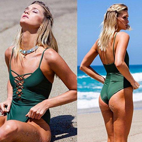 Bende Costume bagno Pure Backless Elegante da da Push imbottito Color Slim Siamese Fasciatura Adeshop Verde Donna bagno up Piece Bikini Costumi Cheap One q16PE6